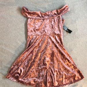 LULUS Off-the-shoulder Pink Crushed Velvet Dress